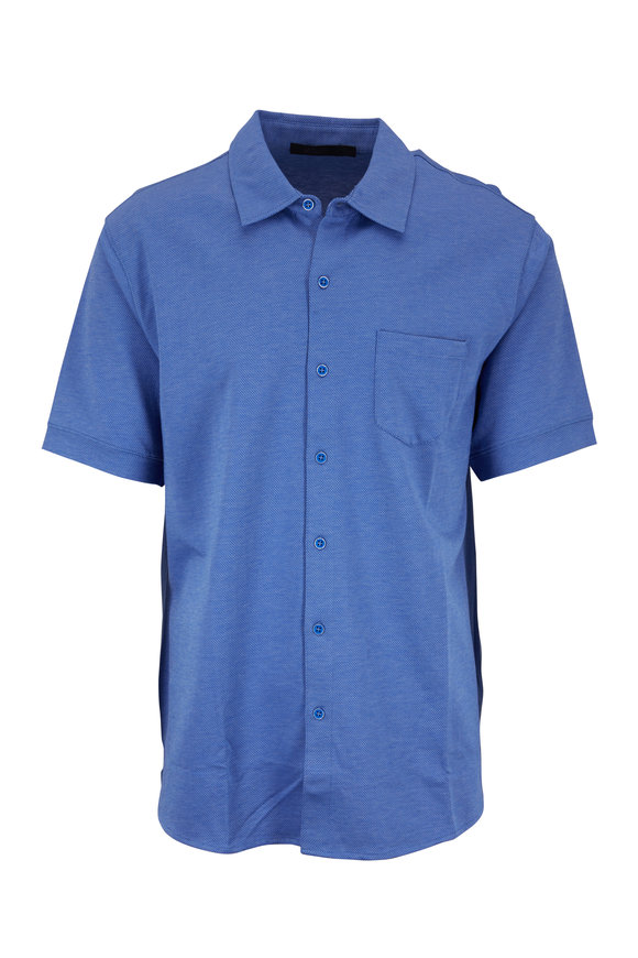 Raffi  Blue Diamond Jacquard Knit Short Sleeve Shirt