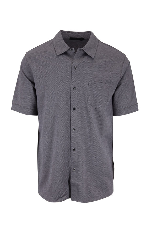 Raffi  Steel Diamond Jacquard Knit Short Sleeve Shirt