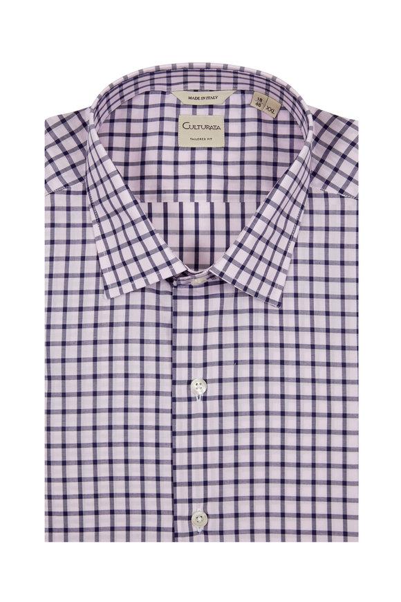 Culturata Light Pink & Navy Blue Tailored Fit Sport Shirt