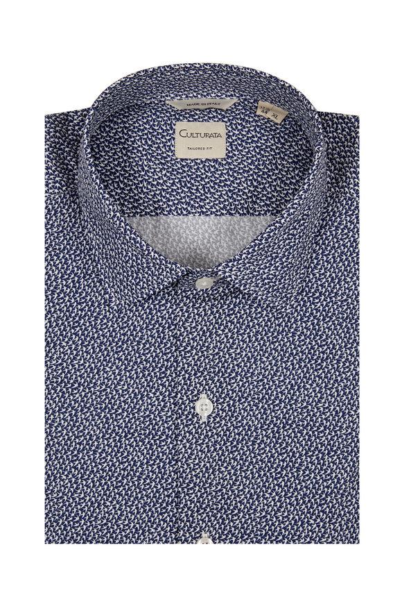Culturata Navy Blue Bird Print Tailored Fit Sport Shirt