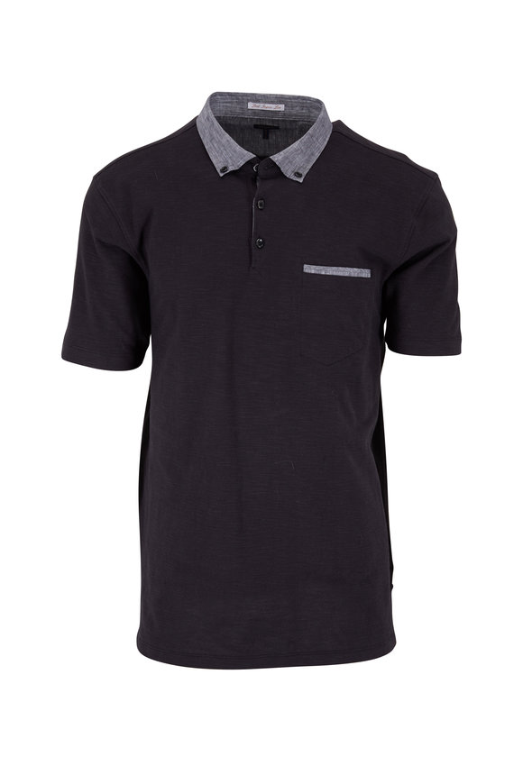 Good Man Brand Black Cotton Pocket Polo
