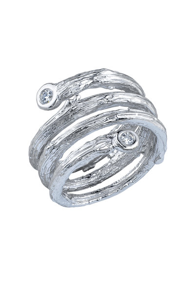 Aaron Henry - White Gold Olive Branch Coil Diamond Ring