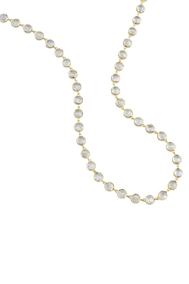 Yellow Gold Rainbow Moonstone Necklace