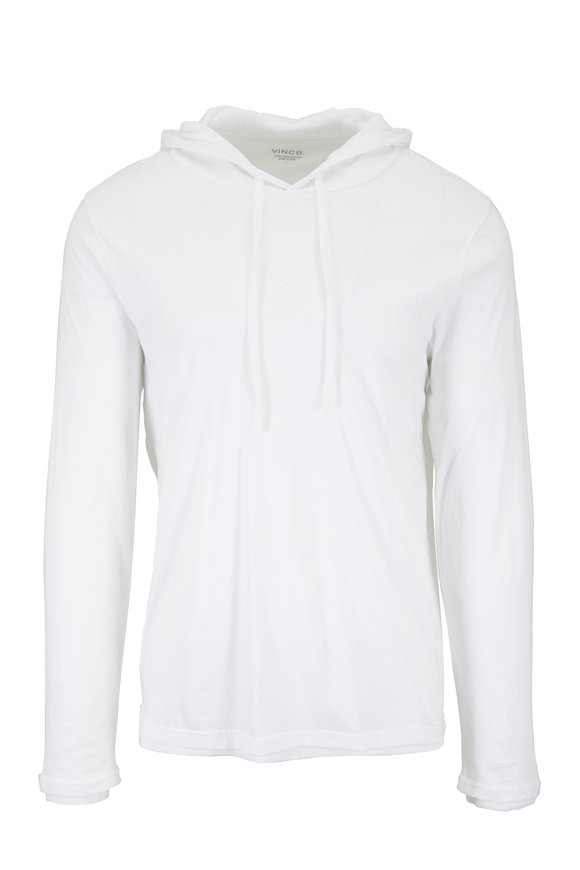 Vince White Double Layer Pullover Hoodie
