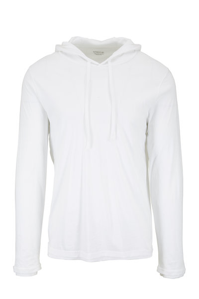 Vince - White Double Layer Pullover Hoodie
