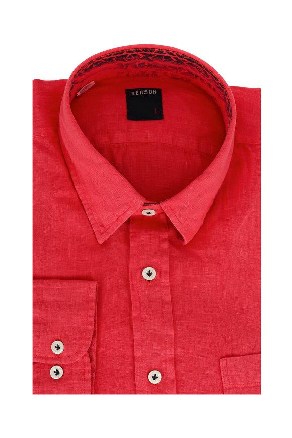 Benson  Coral Linen Sport Shirt