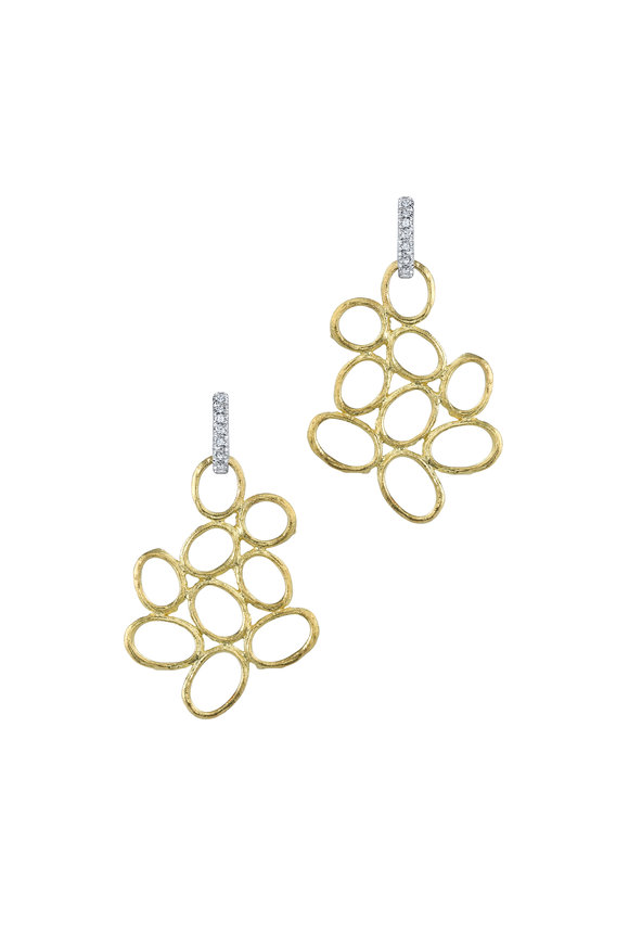 Aaron Henry Gold Free Form Open Olive Branch Diamond Earrings