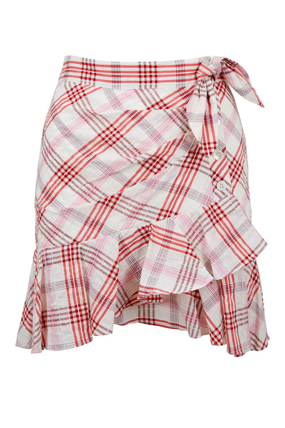 Veronica Beard Kaia Pink Plaid Ruffled Mini Skirt
