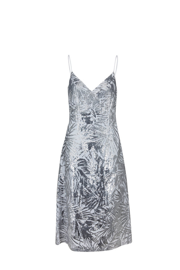 Michael Kors Collection White Double Crêpe Sequined Slip Dress
