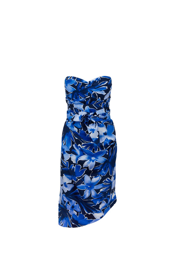 Michael Kors Collection Marine Floral Print Strapless Dress