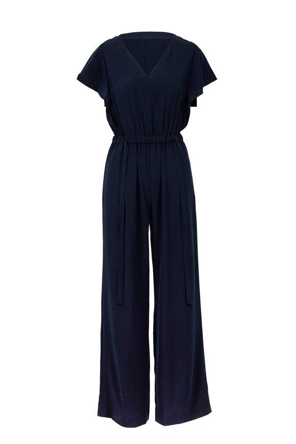 Vince Coastal Blue Silk Flutter Sleeve Jumpsuit