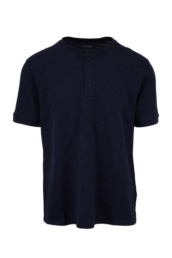 Vince Coastal Blue Classic Short Sleeve Henley