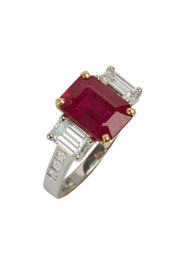 Platinum Red Ruby & White Diamond Ring