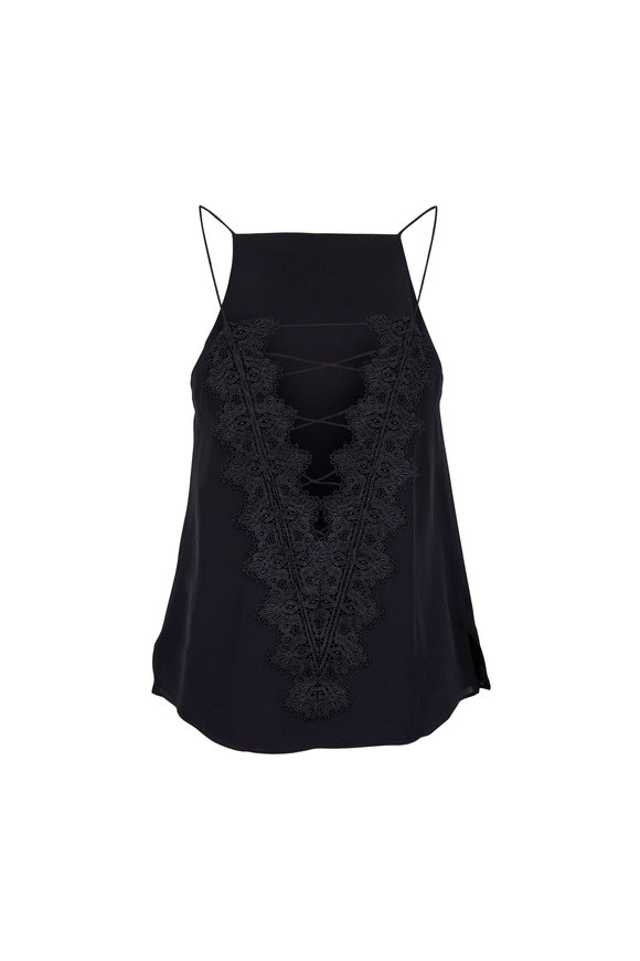 Cami NYC The Charlie Black Silk Convertible Lace Cami