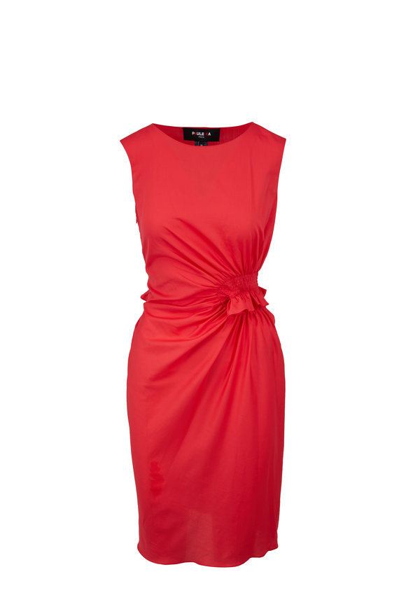 Paule Ka Geranium Pink Cotton Ruched Dress