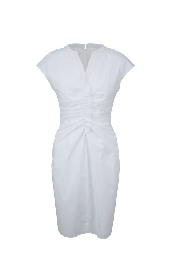 Paule Ka White Stretch Cotton Cap Sleeve Dress