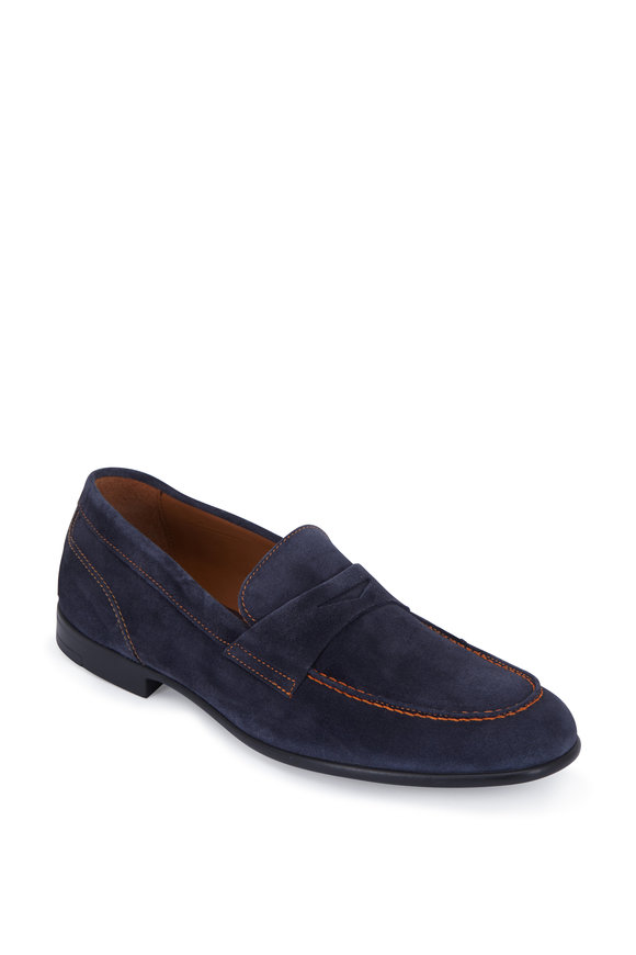 Bruno Magli Silas Navy Blue Contrast Stitch Penny Loafer