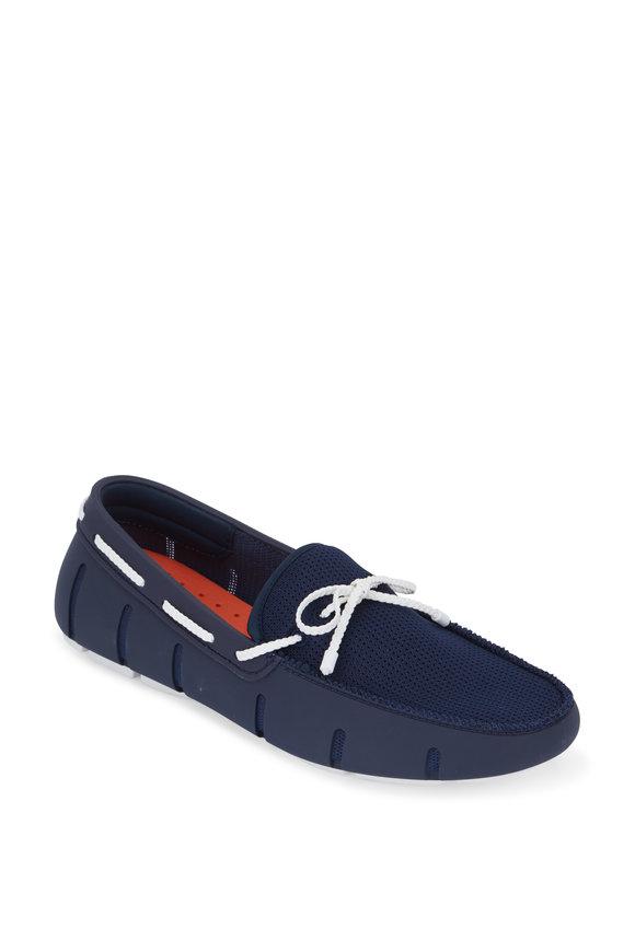 Swims Navy Blue & White Mesh & Rubber Braided Loafer