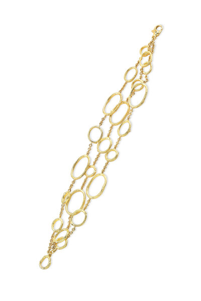 Aaron Henry - Yellow Gold Three Row Olive Branch Link Bracelet