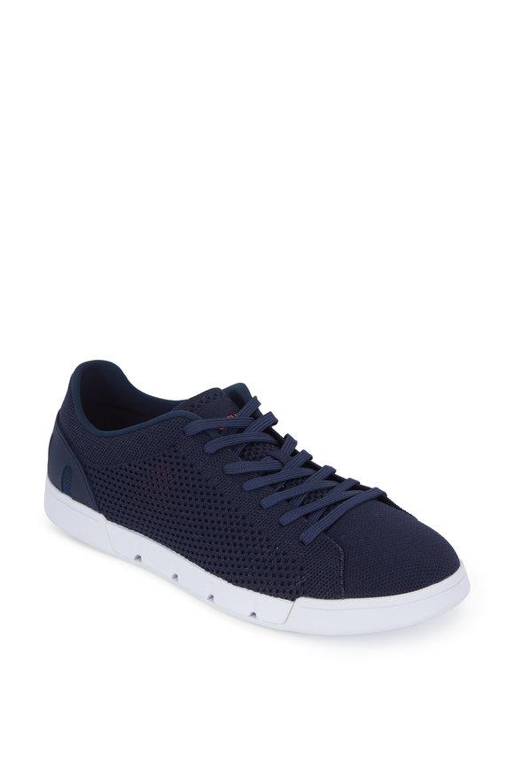 Swims Breeze Navy Blue Knit Tennis Sneaker