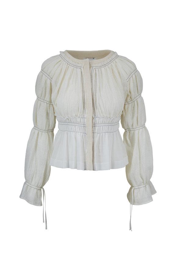 Altuzarra Goncourt White Ruched Jacket