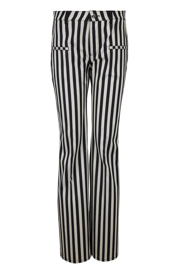 Altuzarra Serge Black & White Striped Bootcut Pant