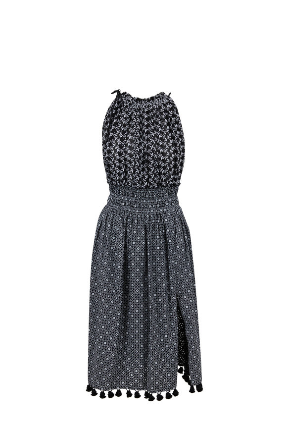 Altuzarra Vivienne Black Print Peasant Dress