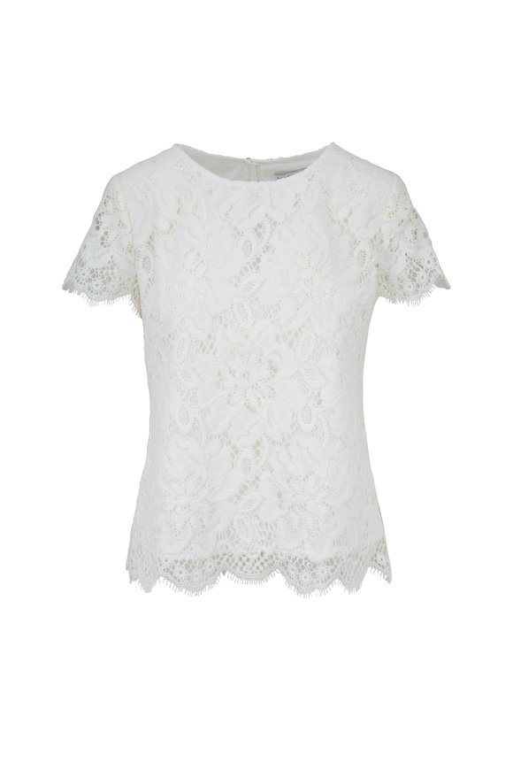 Donna Degnan White Lace Cap Sleeve Blouse