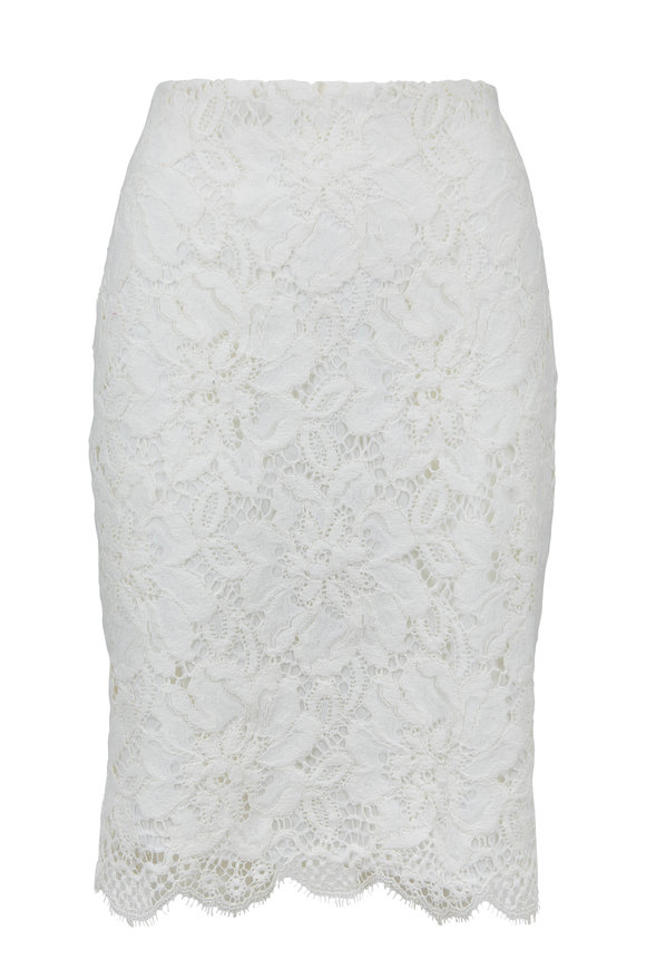 Donna Degnan White Lace Pencil Skirt