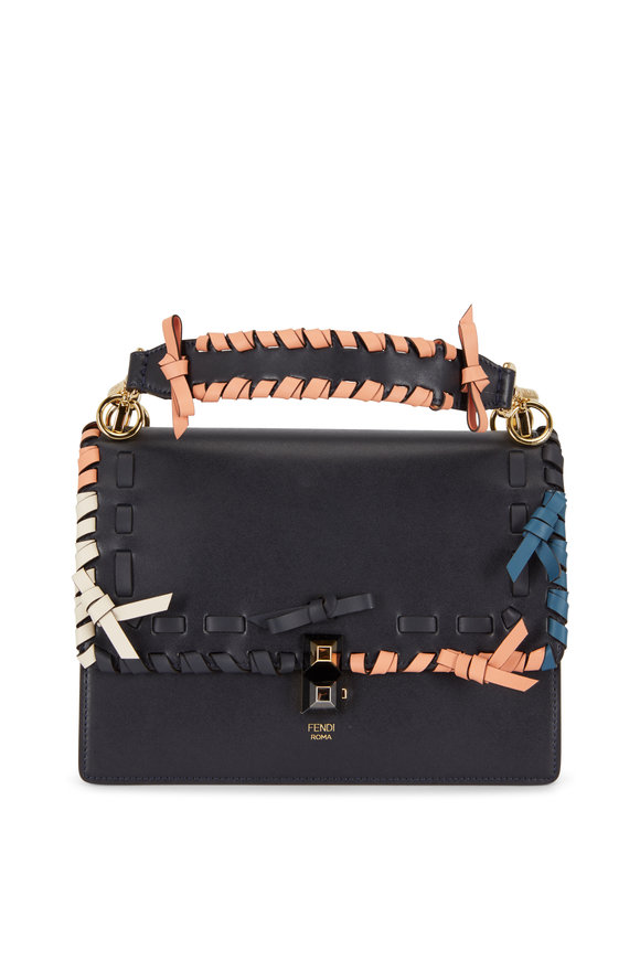 Fendi Kan I Navy Blue Multi Whipstitch Shoulder Bag