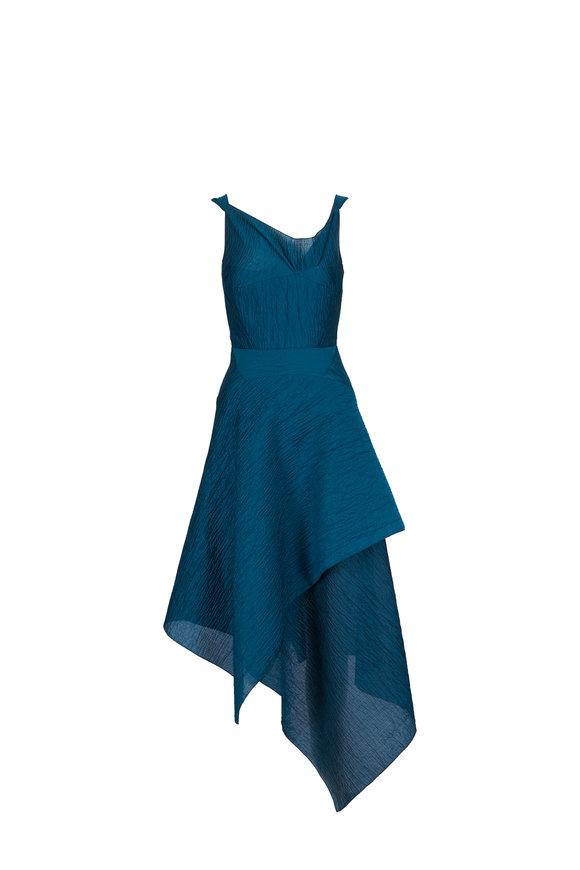 Roland Mouret Meltonby Dark Jade Rippled Cotton & Silk Dress