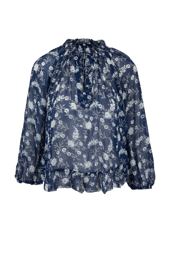 Ulla Johnson Rosine Navy Blue Silk Printed Blouse