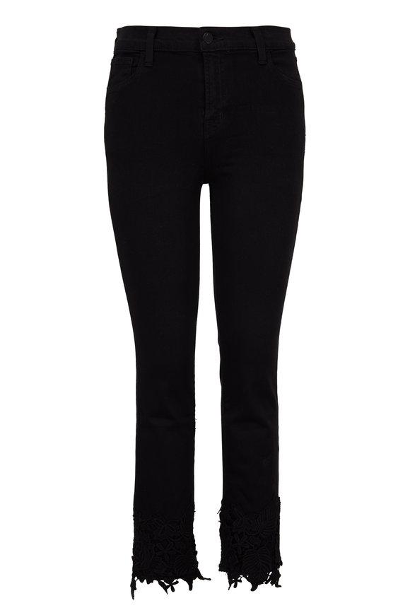 J Brand Ruby Black Lace High-Rise Crop Jean