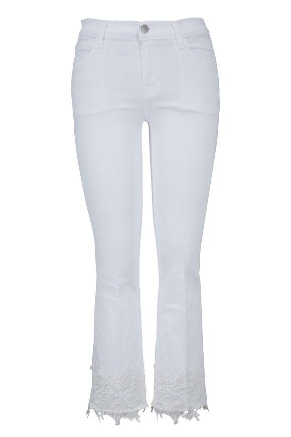 J Brand Selena White Lace Mid-Rise Crop Boot Jean