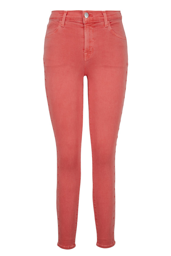 J Brand Alana Coral Eyelet Trim High-Rise Crop Jean