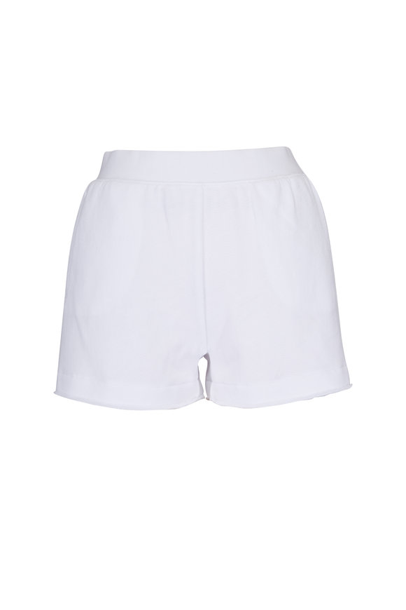 A T M White French Terry Short