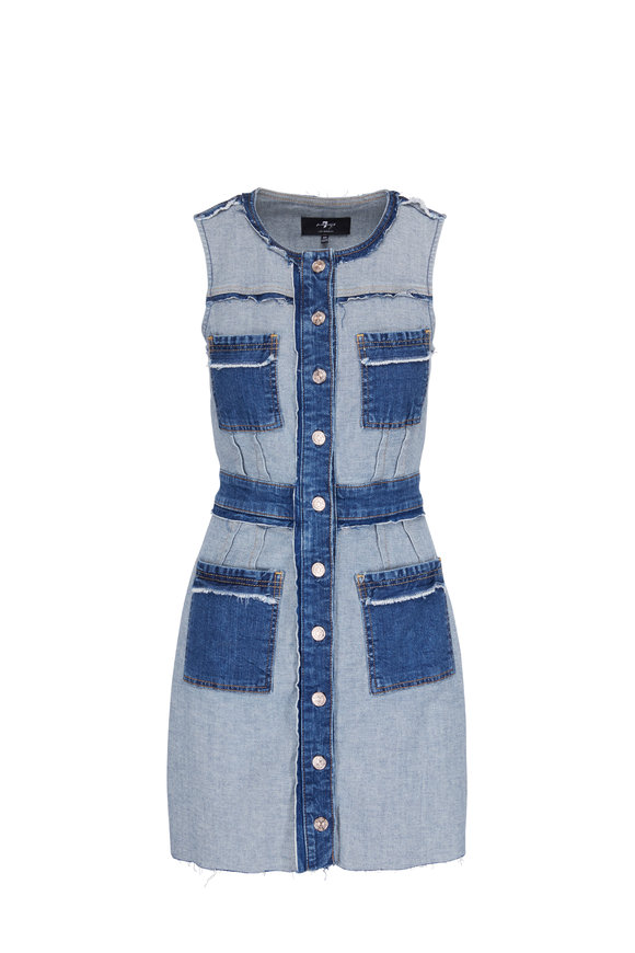 7 For All Mankind Denim Front Button Dress