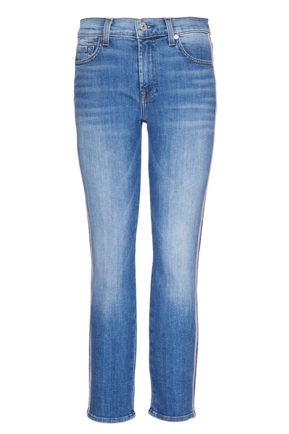 7 For All Mankind Roxanne Pink Striped Skinny Jean