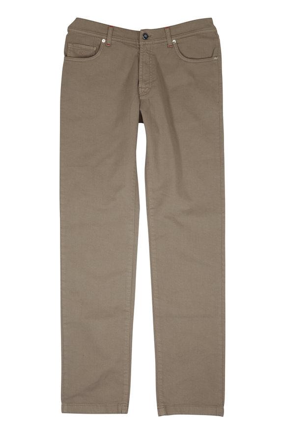 Marco Pescarolo Khaki Stretch Cotton Five-Pocket Pant