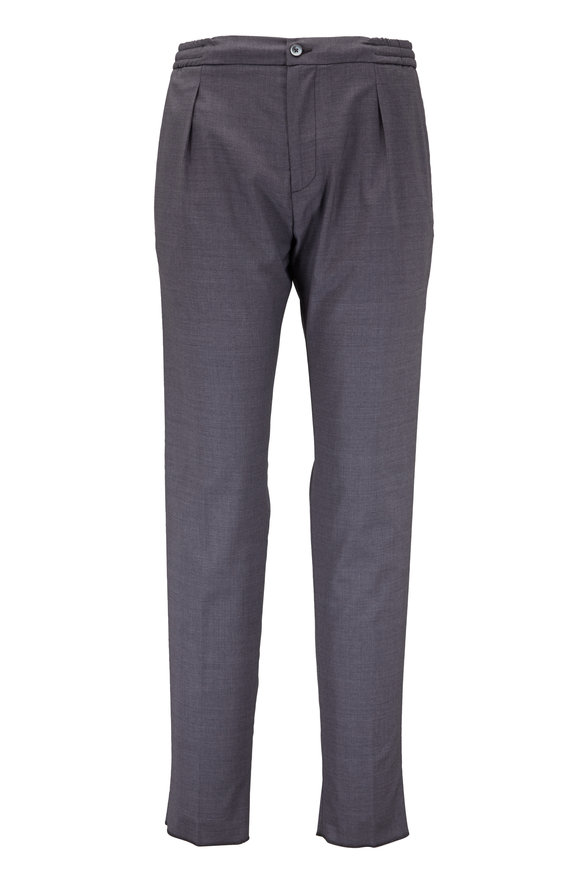 Marco Pescarolo Gray Super 120's Wool Drawstring Pleated Pant