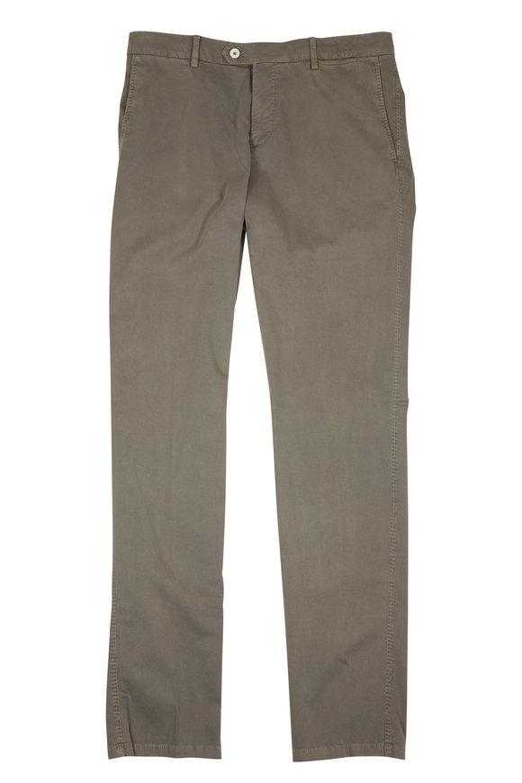 Marco Pescarolo Gray Cotton & Silk Flat Front Pant
