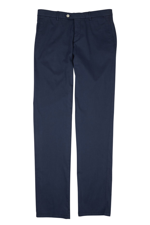Marco Pescarolo Navy Blue Cotton & Silk Flat Front Pant