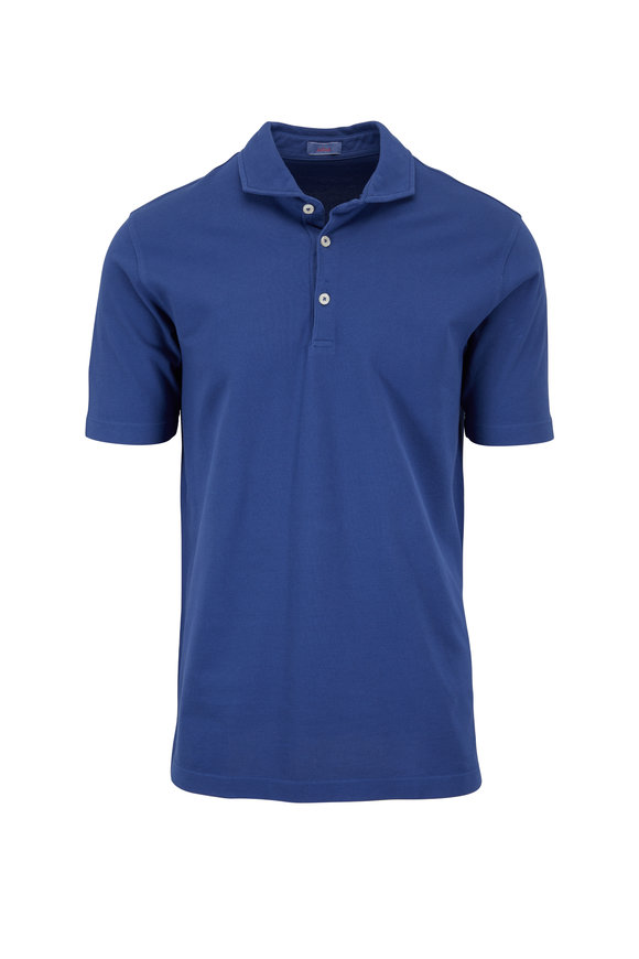 Altea Medium Blue Piqué Spread Collar Polo