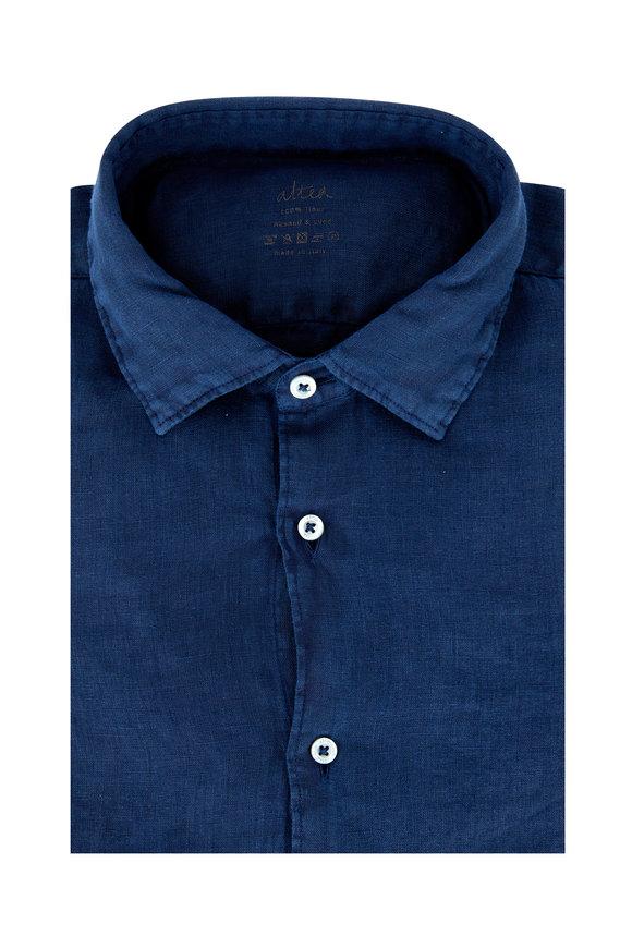 Altea Navy Blue Washed & Dyed Linen Sport Shirt