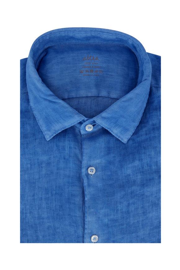 Altea Medium Blue Washed & Dyed Linen Sport Shirt