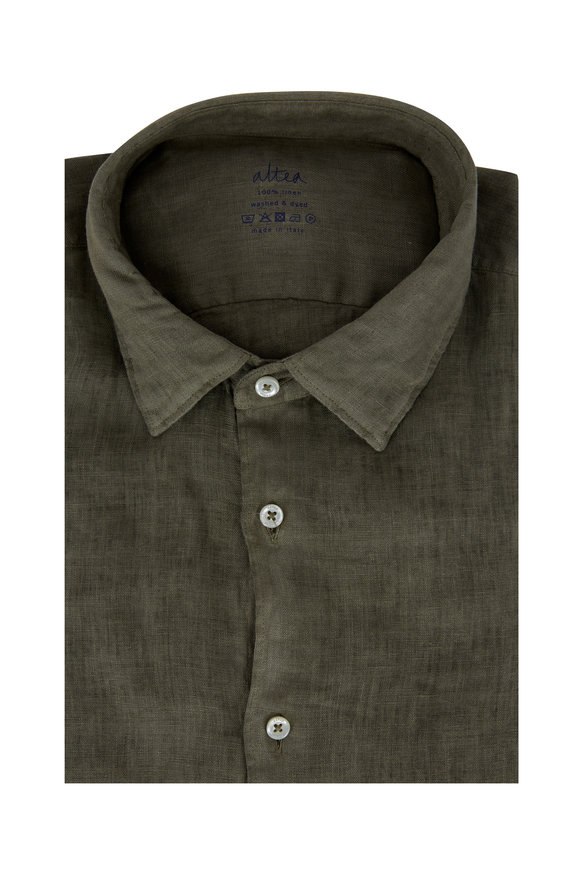 Altea Olive Green Washed & Dyed Linen Sport Shirt