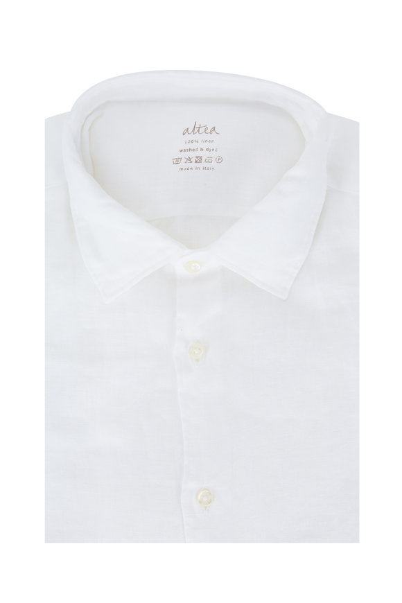 Altea White Washed & Dyed Linen Sport Shirt