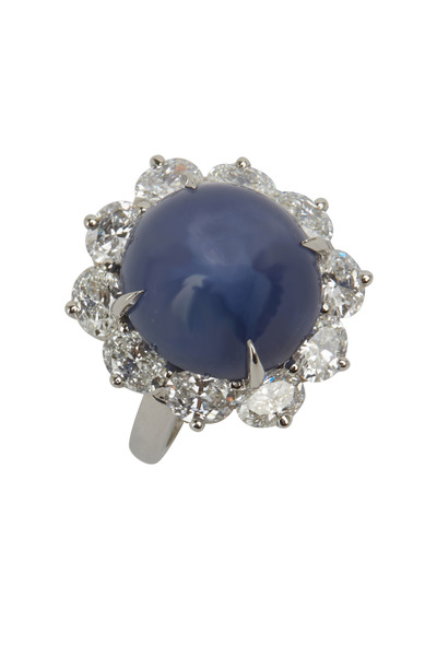 Oscar Heyman - Platinum Star Sapphire Diamond Ring