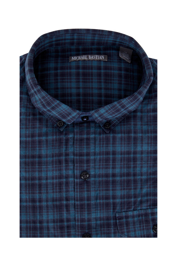 Michael Bastian Blue Moss Plaid Sport Shirt