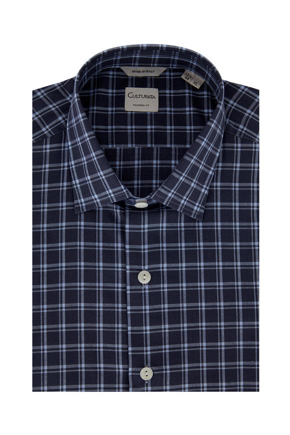 Culturata Gray & Light Blue Tailored Fit Sport Shirt